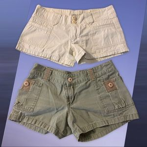 2 Pairs of Billabong Shorts Size 3 Olive & Khaki